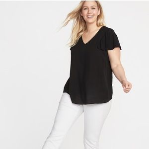 NWT Old Navy Plus Size 2x Flutter Sleeve Blouse!